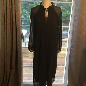 ASOS sz 10 long black chiffon pleated dress